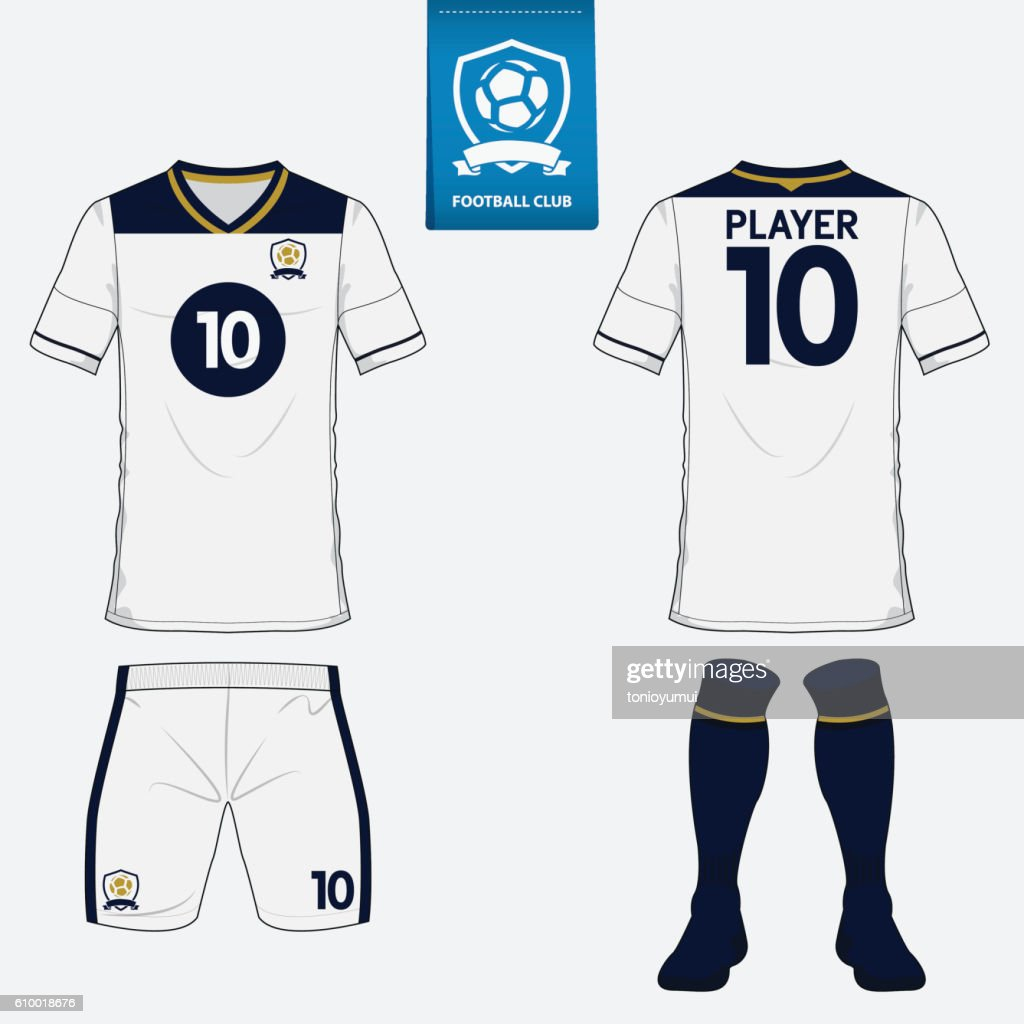 Set of football jersey, soccer kit. Football apparel mock up. Vector