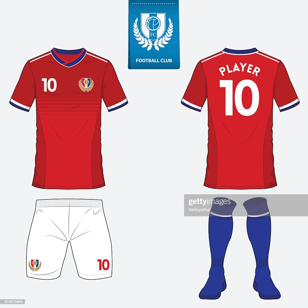 Set of football jersey, soccer kit. Football shirt template. Vector