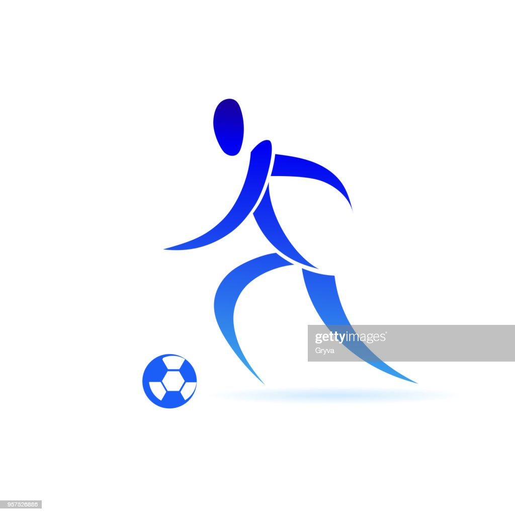 Set of football player in minimalist style. Sport icon vector isolated on white background.