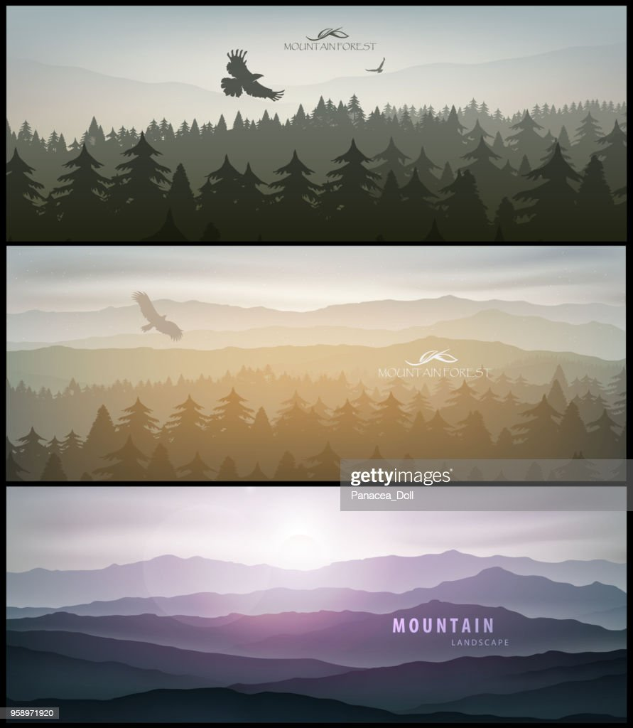 set of forest and mountains banner for facebook Poster vector Design