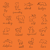 Set of Forest animals silhouette