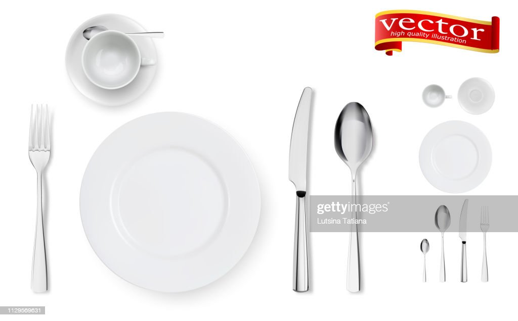 Set of fork, knife, cup, plate and spoons isolated on white