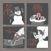 Set of four black and white banners with brush lettering, showman, angel, a sleigh with Christmas tree and gift bags.