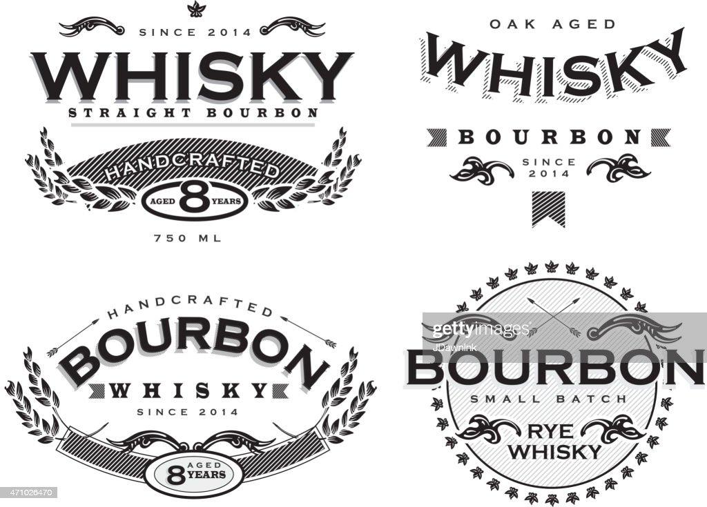 Set of four black and white retro Bourbon Whisky labels