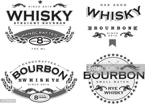 Set of four black and white retro Bourbon Whisky labels