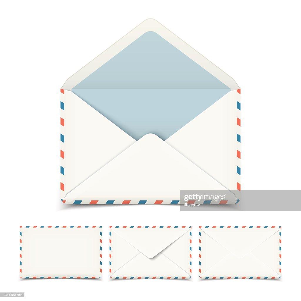 Set of four blank white vector envelopes isolated on white