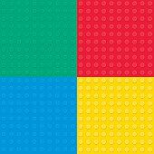 Set of four Building toy bricks. Seamess parttern.