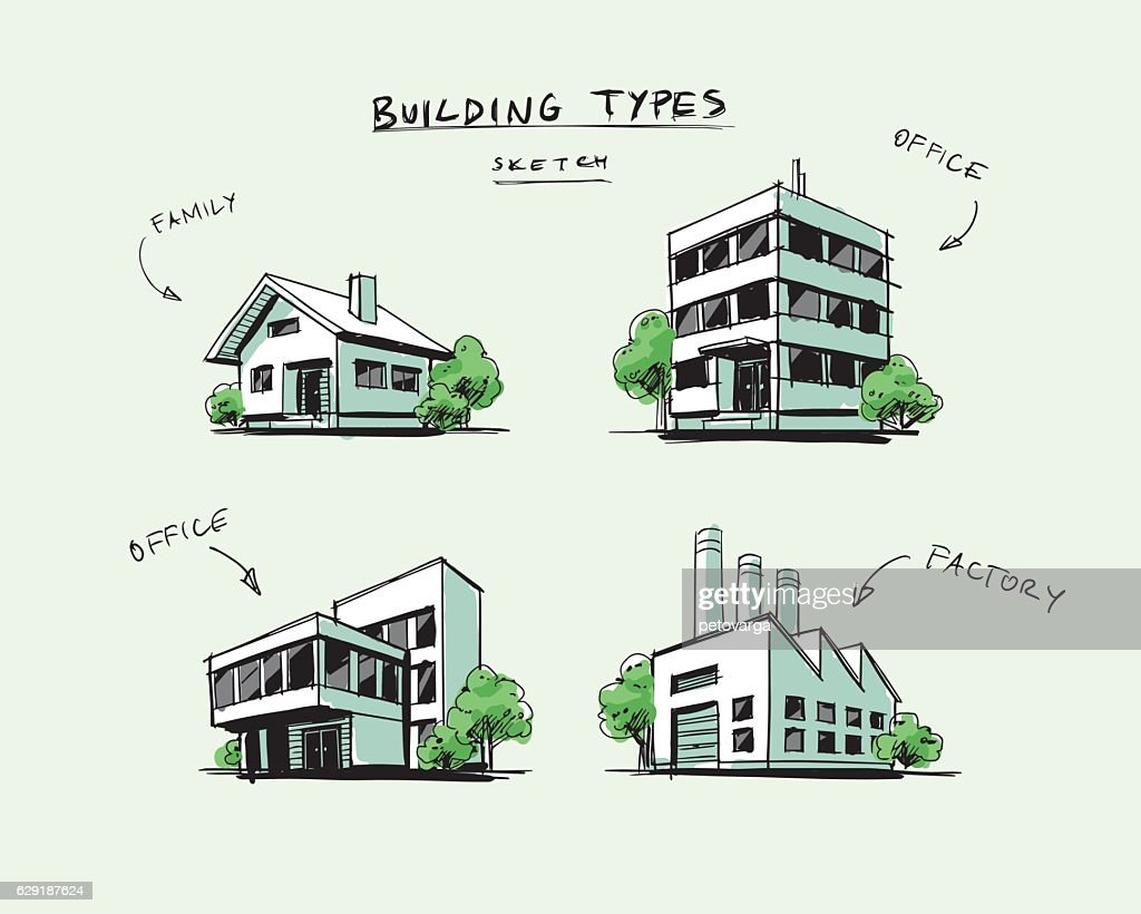 Set of Four Buildings Types Hand Drawn Cartoon Illustration