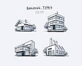Set of Four Buildings Types Hand Drawn Cartoon Illustration