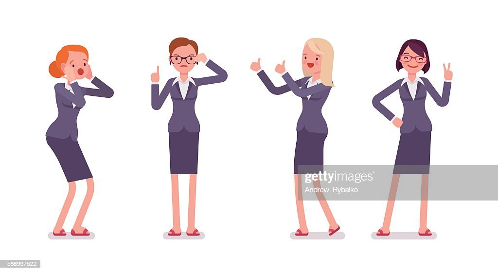 Set of four business female characters