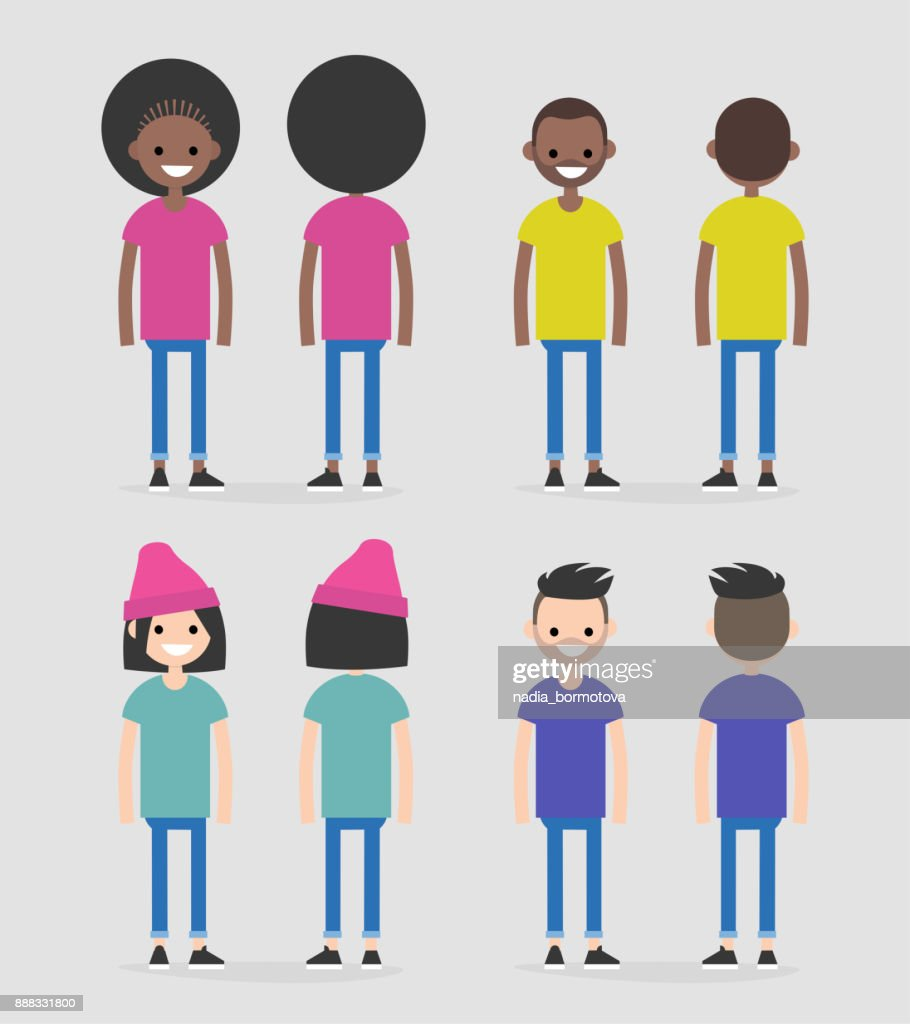 Set of four characters, front and back views. African american and caucasian males and females. Flat editable vector illustration, clip art