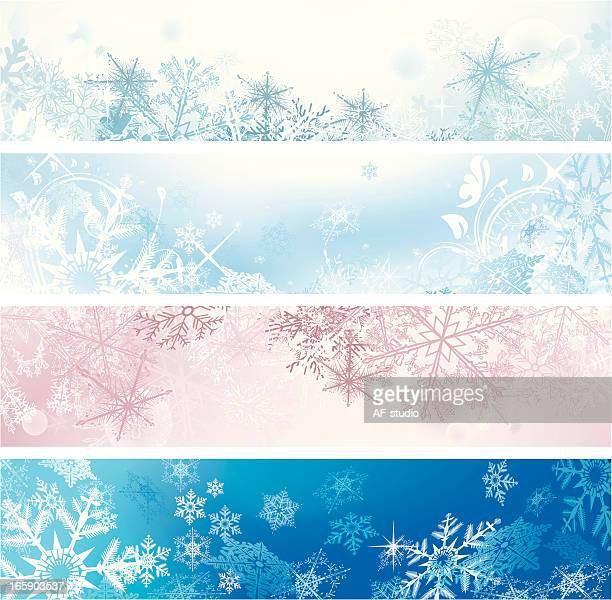 Set of four Christmas banners in various colors