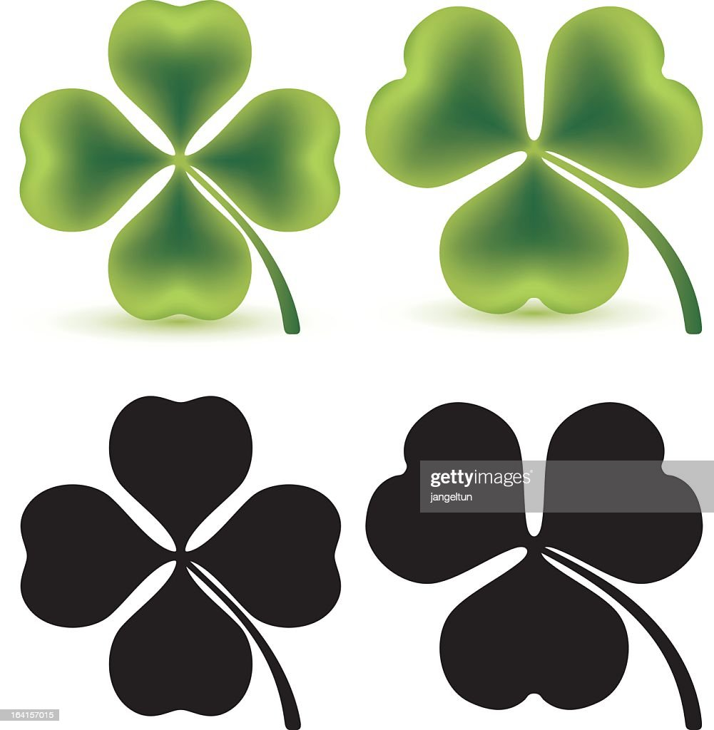 Set of four clovers in green and black