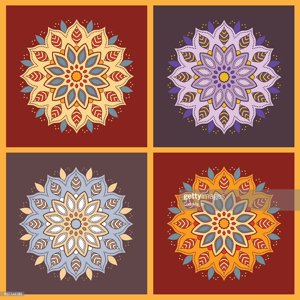 Set of four colorful oriental flower mandala.