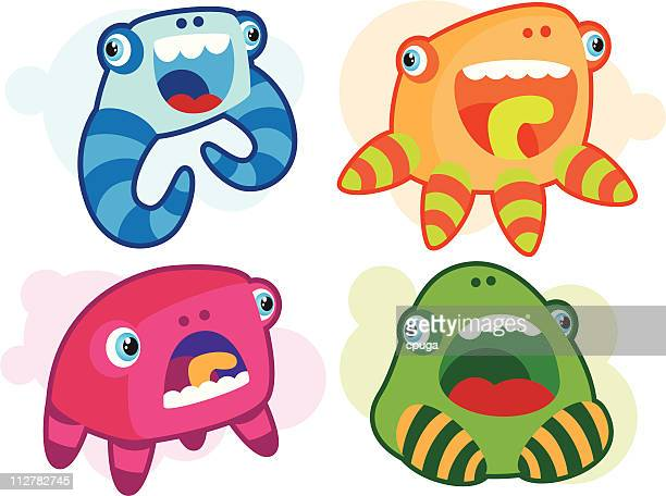 Set of Four Cute Monsters