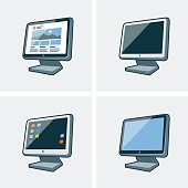 Set of four desktop pc monitor icons in cartoon style