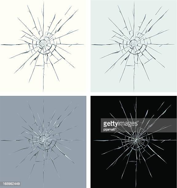 set of four different colors of cracked screen graphic - broken stock illustrations, clip art, cartoons, & icons