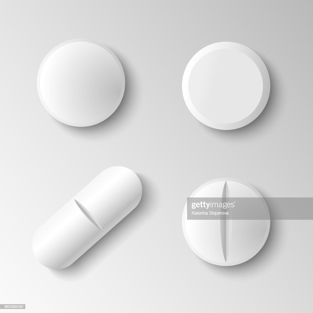 Set of four different vector realistic white pills isolated on grey background