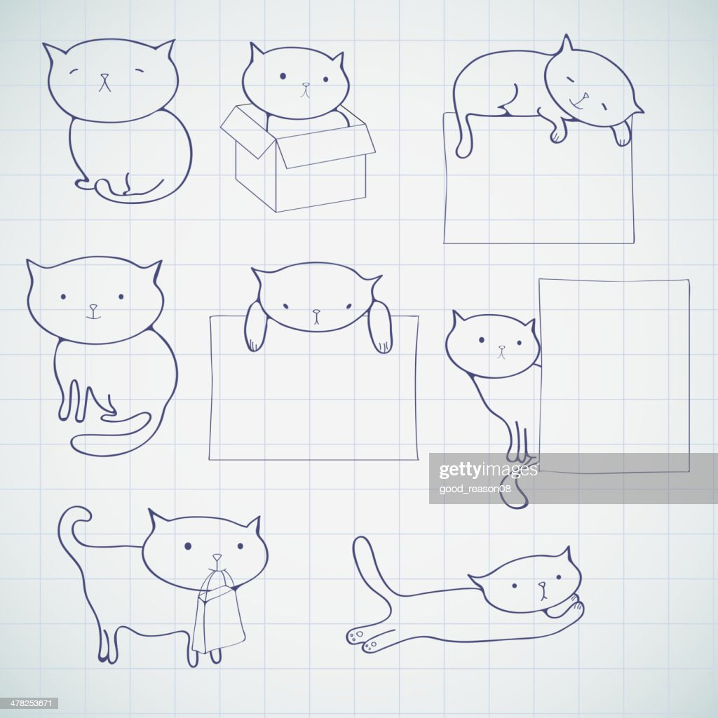 Set of four funny cats, isolated on white.