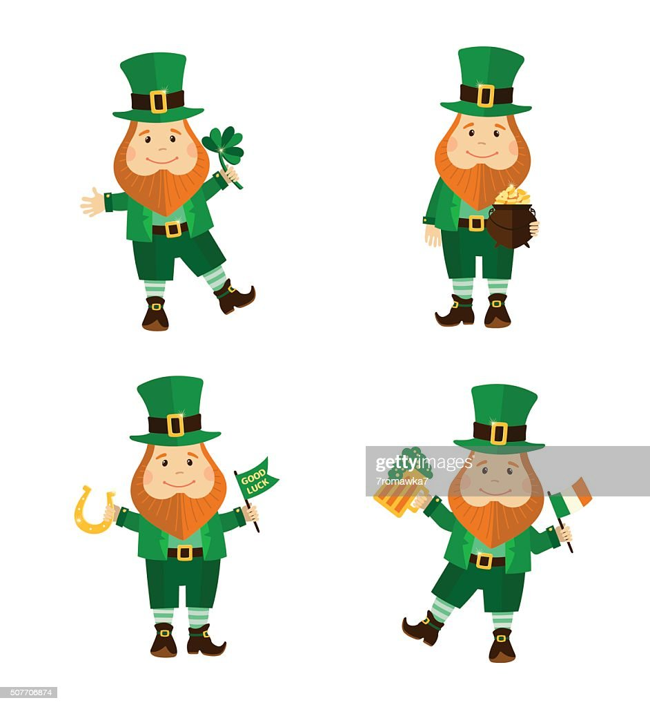 Set of four funny leprechauns in different poses.