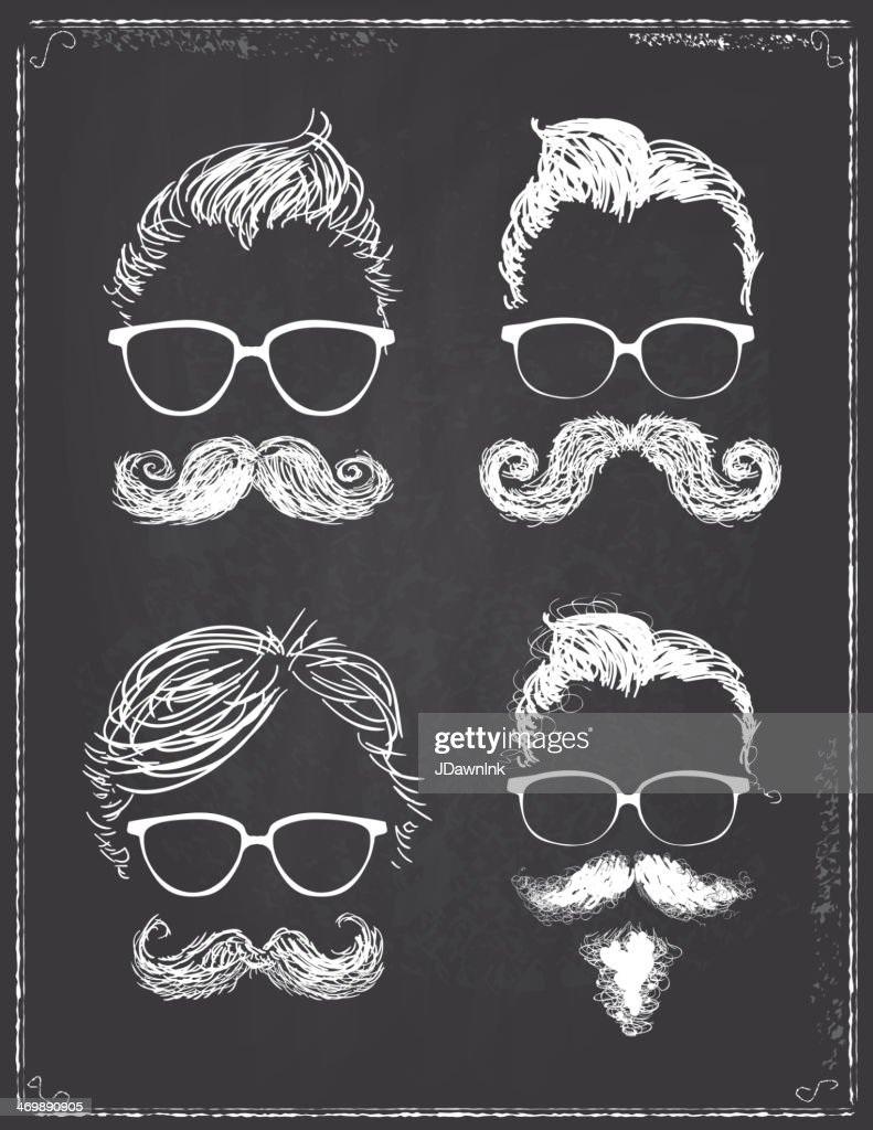 Set of four gentleman hipster features on chalkboard : stock illustration