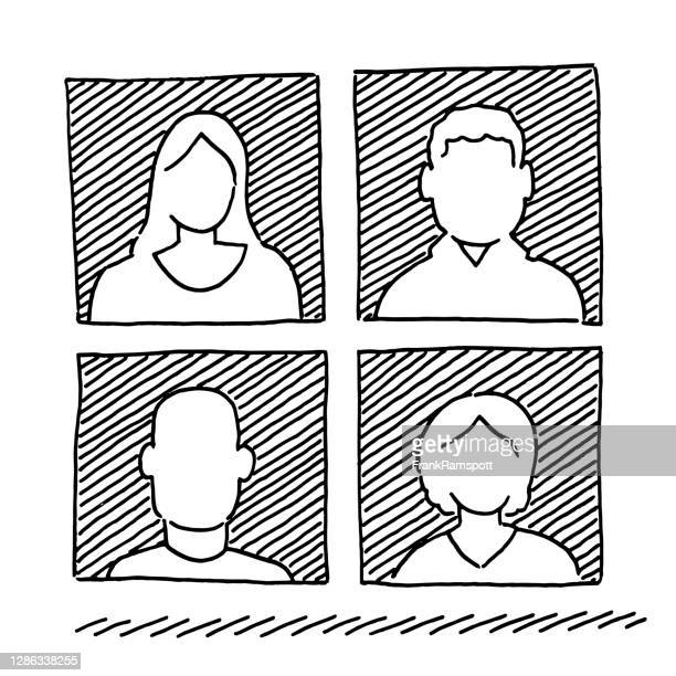 set of four human avatar icons drawing - four people stock illustrations