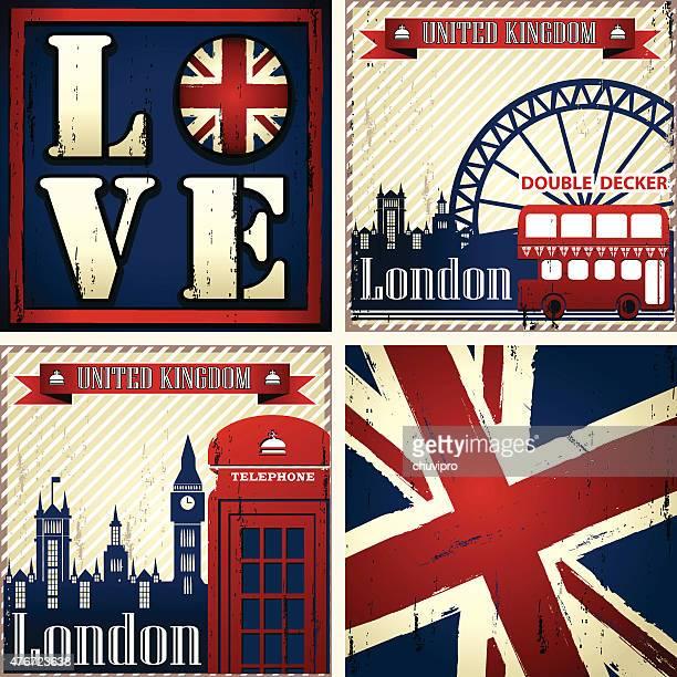 uk & london set of four illustrations - british culture stock illustrations