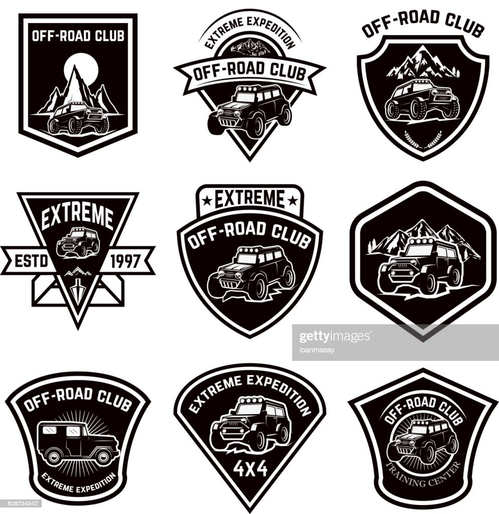 Set of four off-road suv car emblems. Extreme adventure club. Vector illustration
