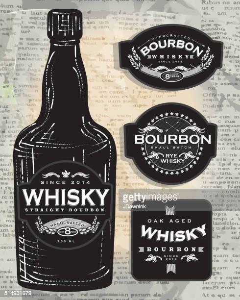 set of four retro bourbon whisky labels and bottle - whiskey stock illustrations