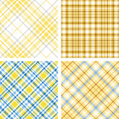 Set of four seamless tartan plaid pattern in shades of yellow.