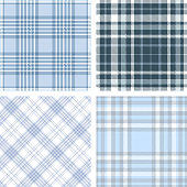 Set of four seamless tartan plaid patterns in shades of blue and white.