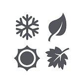 A set of four seasons icons.