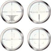 Set of four sniper crosshair