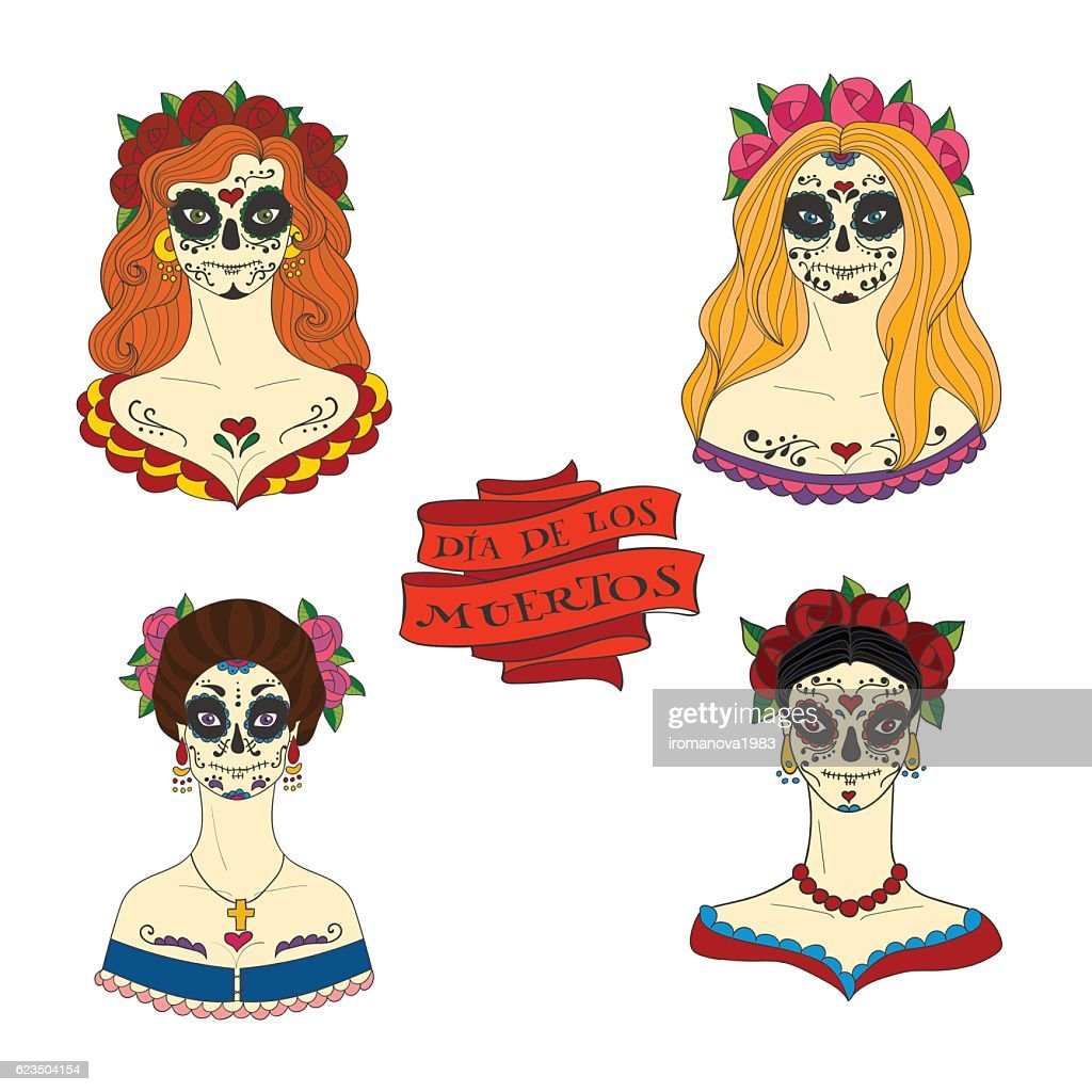 Set of four sugar skull women.