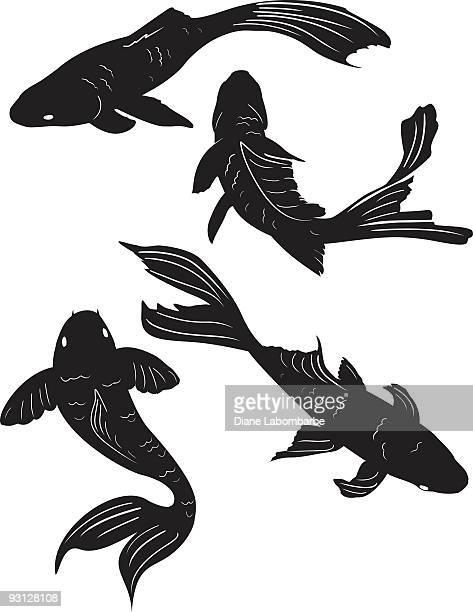 一連の 4 つの池には鯉魚のポーズを取るブラックのシルエット - clip art点のイラスト素材/クリップアート素材/マンガ素材/アイコン素材