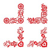 Set of four traditional folk ornaments, red embroidery isolated on a white background