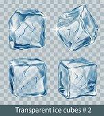 Set of four transparent  blue vector ice cubes