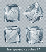 Set of four transparent  gray vector ice cubes