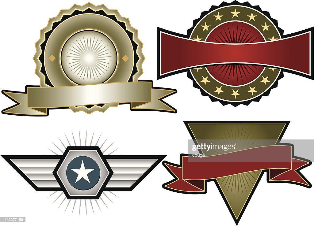 Set of Four Vector Emblems & Crests