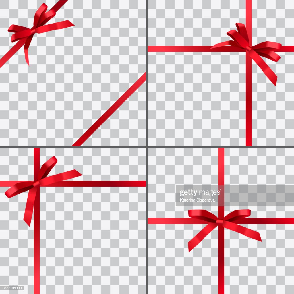 Set of four vector gift wrapping designs with red shiny realistic ribbons isolated on transparent background