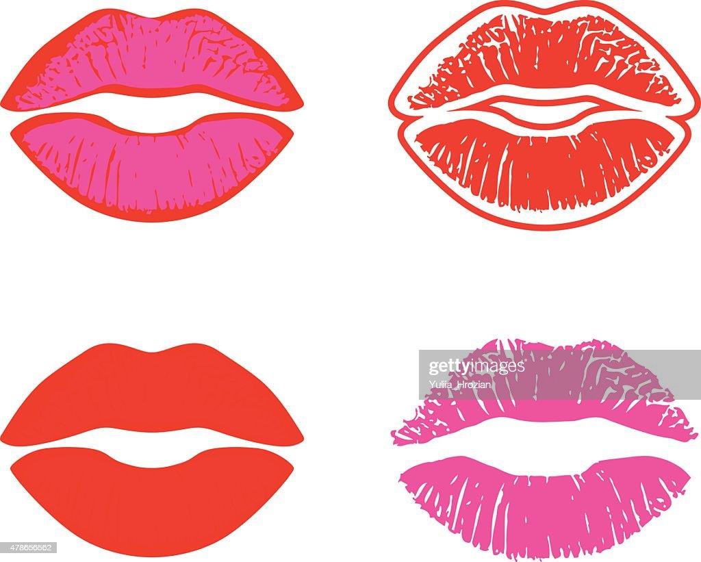 Set of four vector lips illustration
