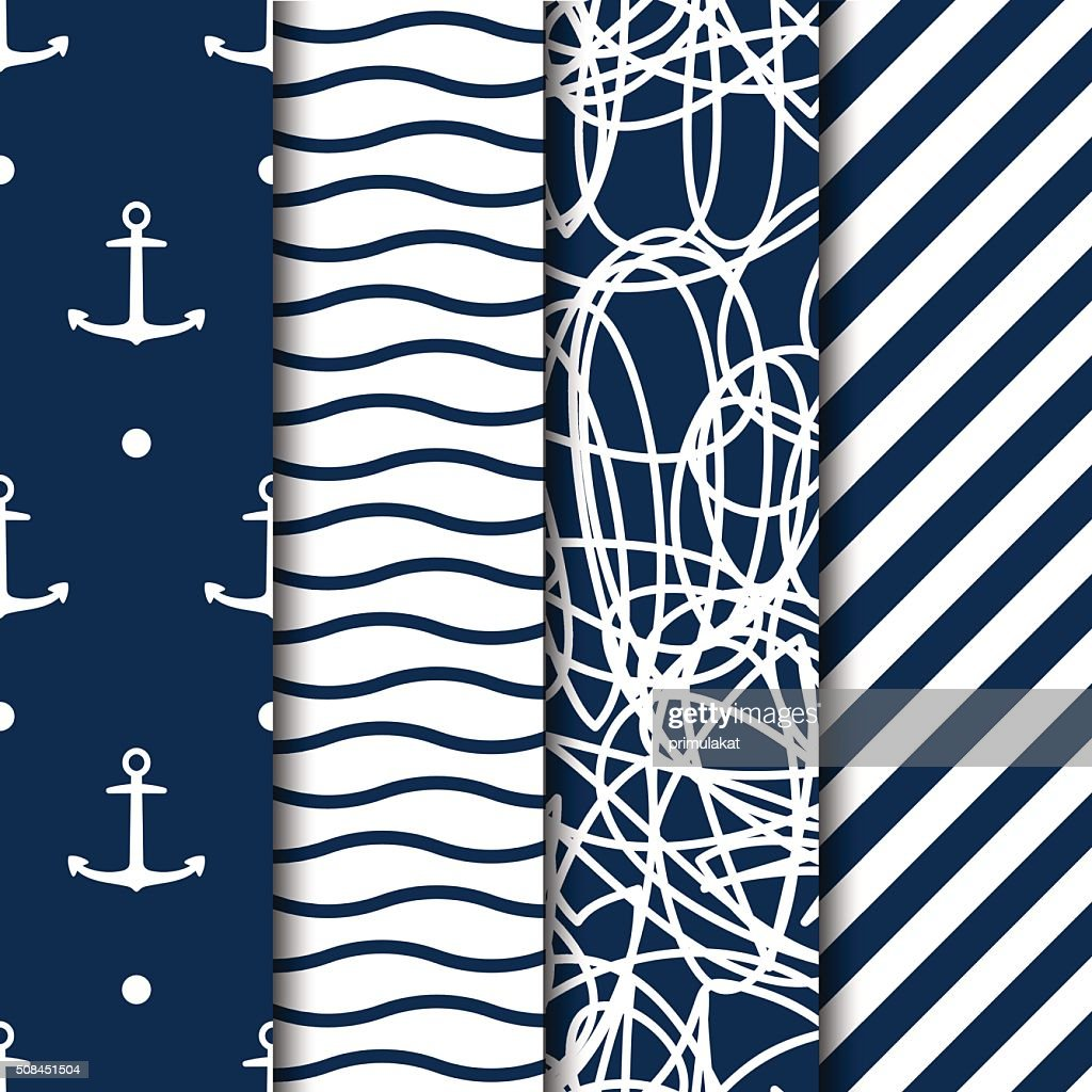 Set of four vector seamless sea style patterns