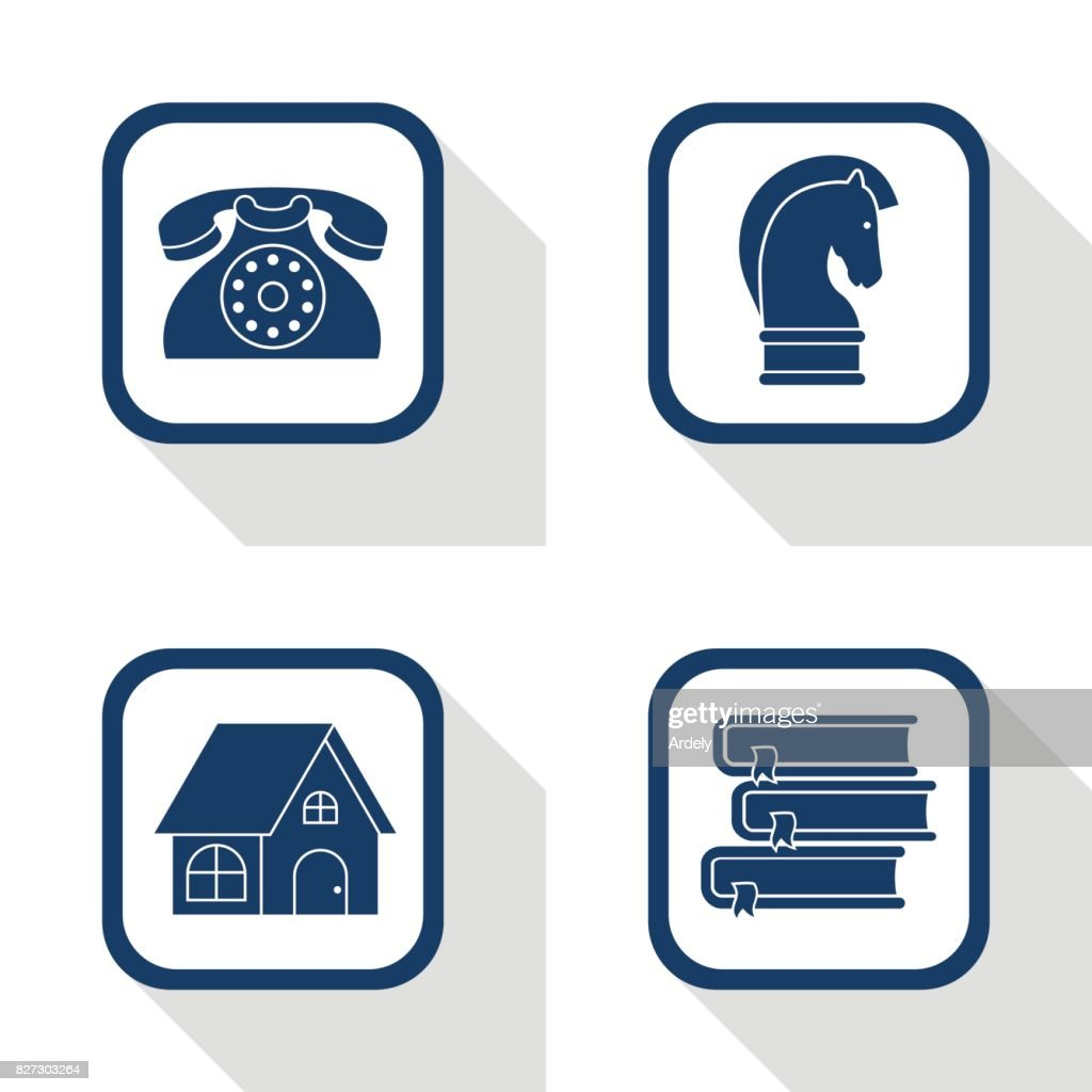 set of four vector square dark blue icons business - symbol of phone, strategy, home and books in flat design