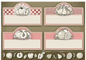 set of four vintage labels with fruits
