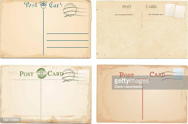 set of four vintage post cards with rustic background - postcard stock illustrations, clip art, cartoons, & icons