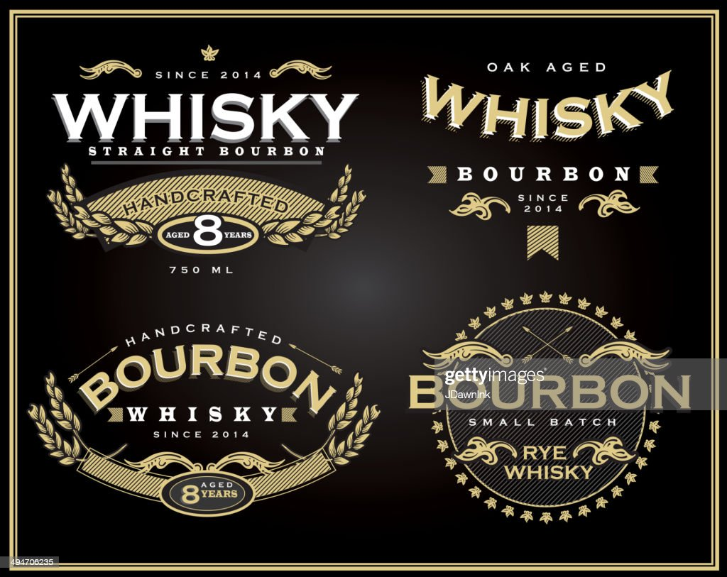 Set of four whisky and bourbon label designs