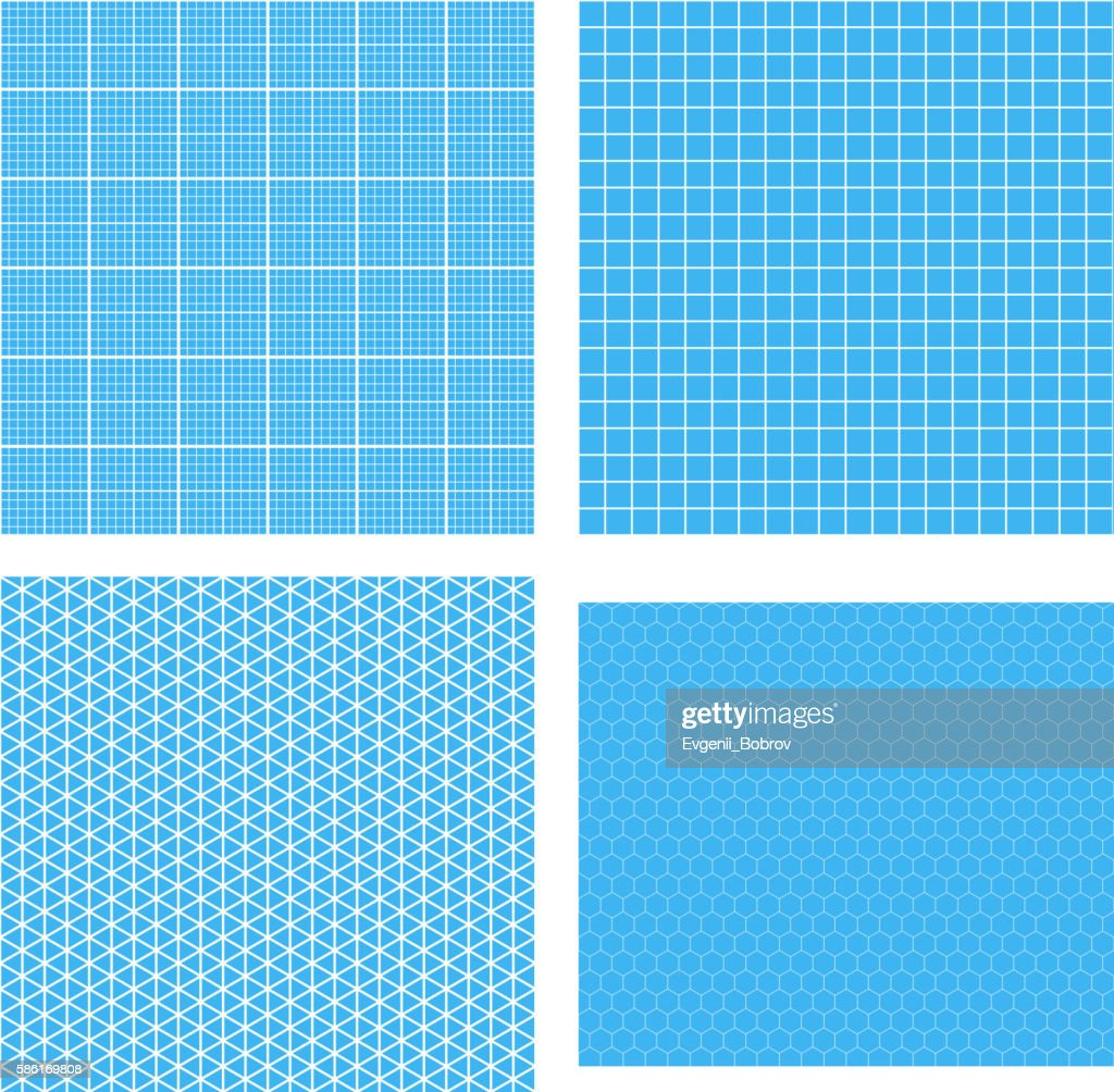 Set of four white geometric grids on cyan