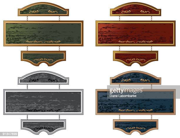 set of four wooden hanging sign in different colors - memorial plaque stock illustrations, clip art, cartoons, & icons