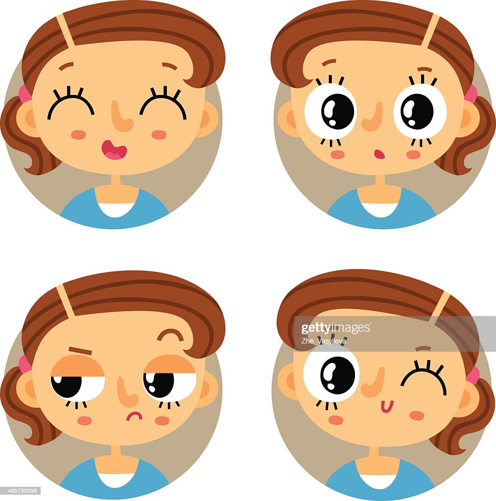 Set of four young girl emotions