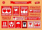 Set of fragile sticker. using on industrial, packaging division, or other cargo industries.